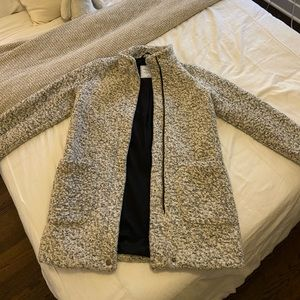Gray and white wool & polyester coat/jacket
